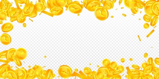 Падение индийских рупий. приятные разрозненные монеты inr. деньги индии. величественный джекпот, концепция богатства или успеха. векторная иллюстрация.