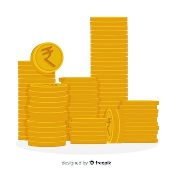 Indian rupee coins stack