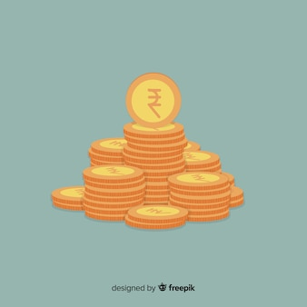 Indian rupee gold coin stack