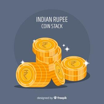 インドのルピー金貨のスタック
