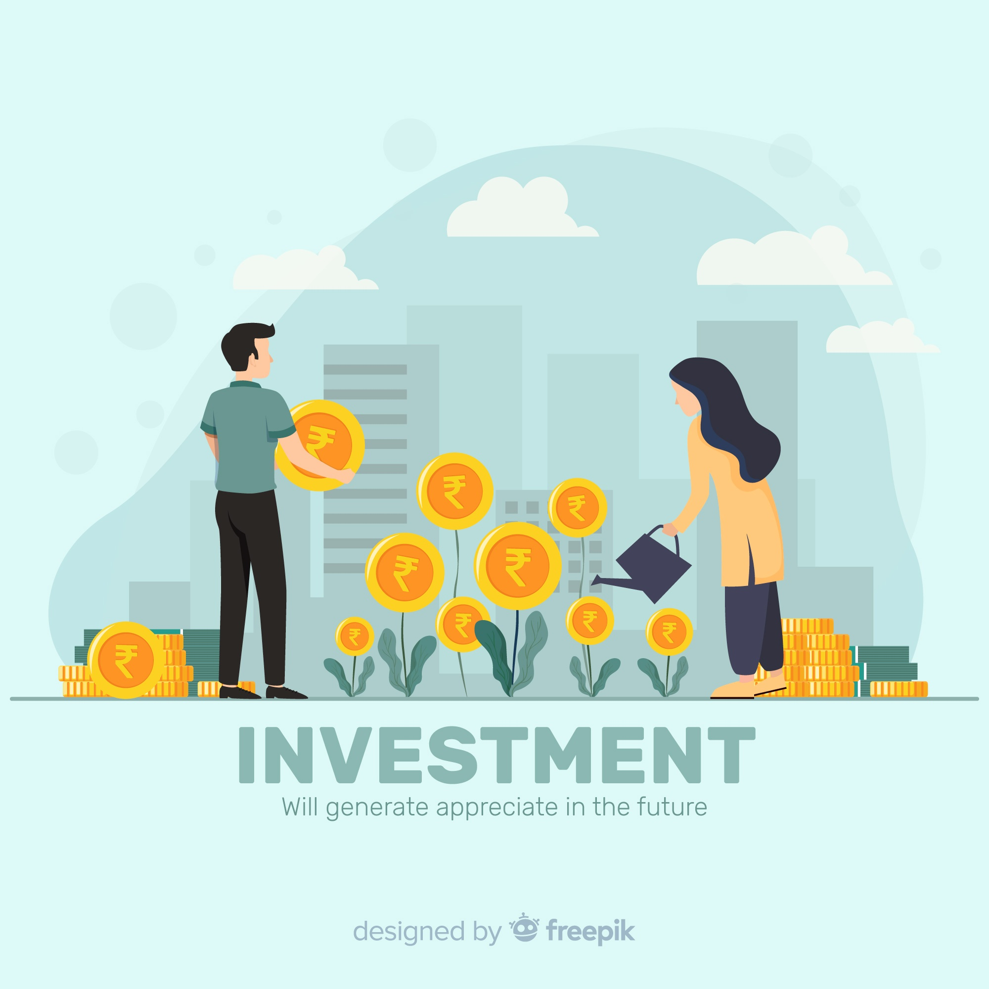Indian rupee investment concept