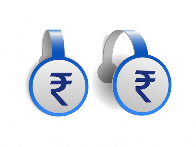Indian rupee symbol on blue advertising wobblers.   of currency sign of india on  label. symbol of monetary unit.  illustration  on white background