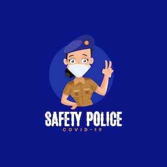 인도 안전 경찰 마스코트 로고 템플릿 프리미엄 벡터