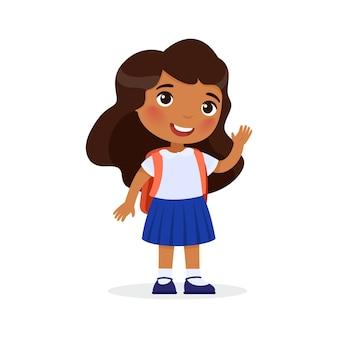 Indian school girl happy elementary school pupil back to school