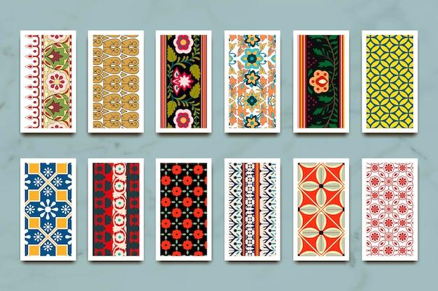 인도 원활한 패턴 배너 세트