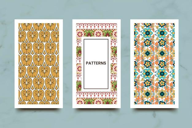 Indian seamless pattern banners set