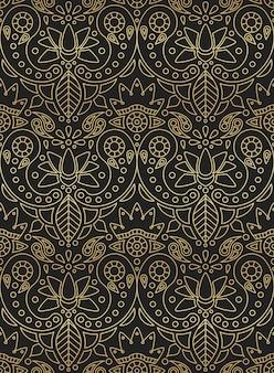 黒の背景にインドの飾りペイズリー、蓮、黄金の花のグラデーションでインドのシームレスパターン