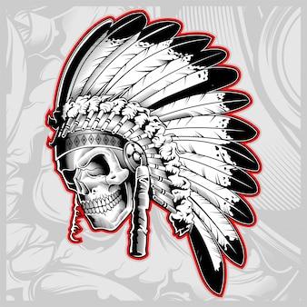 Indian skull face illustration