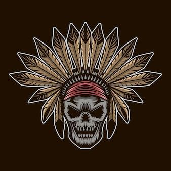 Indian skull head vector illustration isolated
