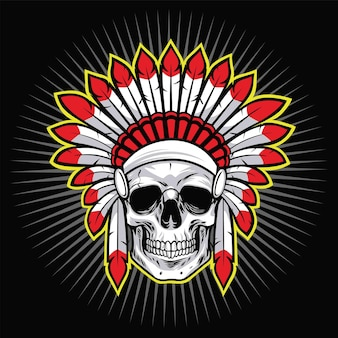Indian skull native american warrior logo with red feather vector illustration