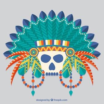 Cranio indiano con piume decorative nel design piatta