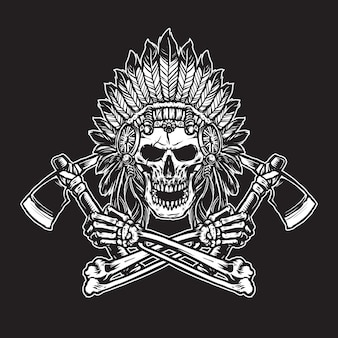 Indian skull with headdress  feather accessories holding axes line art black and white
