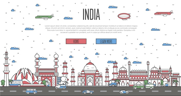 Indian skyline with national famous landmarks