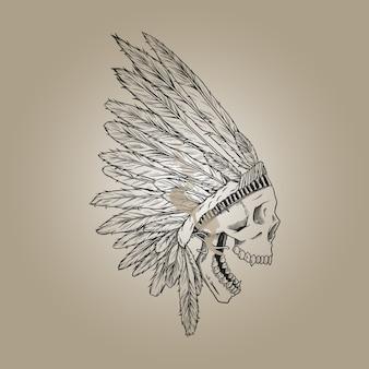 インドの煙の頭蓋骨線画イラスト