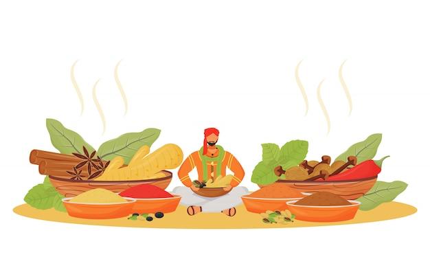 インドのスパイスショップフラットの概念図。蓮華座に座っている男、調味料ベンダーの2d漫画のキャラクターをwebデザイン。伝統的な飲み物と食品添加物の独創的なアイデア