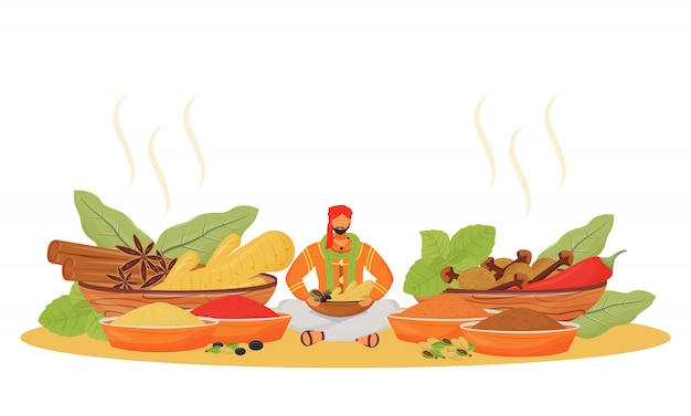 Indian spice shop flat concept illustration. man sitting in lotus position, condiments vendor 2d cartoon character for web design. traditional drink and food additives creative idea