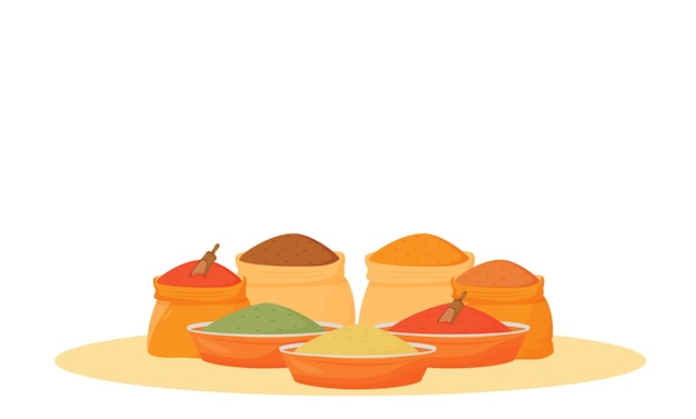 Indian spices assortment cartoon illustration. traditional flavourings in bowls and sacks flat color object. cooking items, food ingredients, condiments isolated on white background
