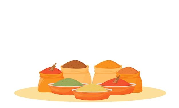 Иллюстрация шаржа ассортимент индийских специй. традиционные ароматизаторы в мисках и мешках плоского цвета. кулинария, пищевые ингредиенты, приправы, изолированные на белом фоне