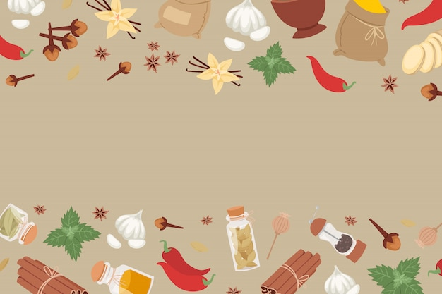 Indian spices and herbs from india flavor ingredient for food condiments banner.