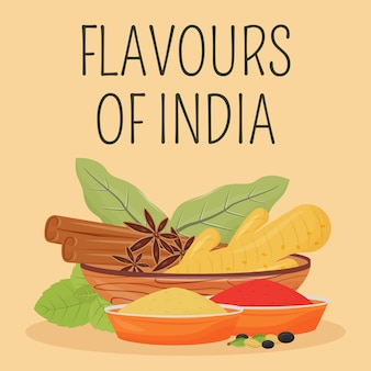 Indian spices social media post . flavours of india phrase. web banner design template. traditional condiments booster, content layout with inscription. poster, print ads and flat illustration