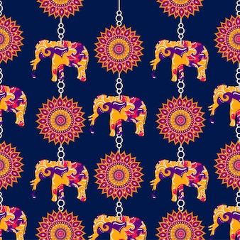 Indian style elephant and floral pattern background.