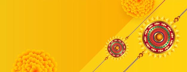 Индийский стиль ракшабандхан цветочный баннер с пространством для текста