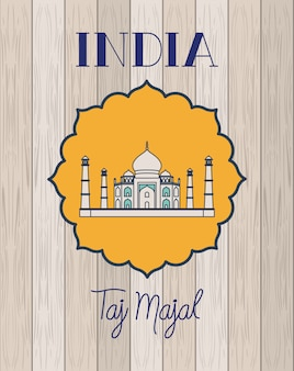Indian taj majal temple with wooden