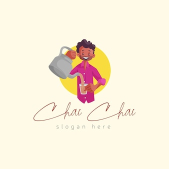 Indian tea seller mascot logo template
