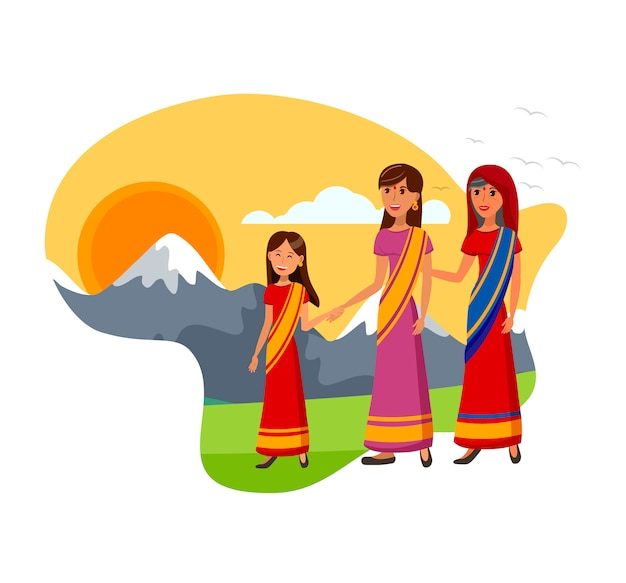 Indian traditional clothing vector illustration