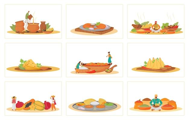인도 전통 식사 평면 개념의 설정. 레스토랑 음식 요리 및 은유 제공. 힌두교 요리사 및 하인, 열대 과일 및 향신료 공급 업체 2d 만화 캐릭터