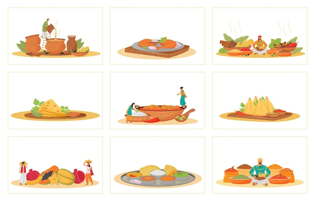 Indian traditional meals flat concept s set. restaurant food cooking and serving metaphors. hindu cooks and servants, tropical fruits and spice vendors 2d cartoon characters