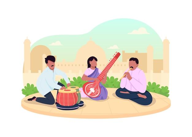 インド伝統音楽の2dwebバナー、ポスター。セレモニーミュージックパフォーマンス。インドのミュージシャンは漫画の背景にキャラクターをフラットにします。ストリートコンサートの印刷可能なパッチ、カラフルなウェブ要素