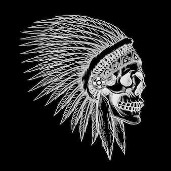 깃털을 가진 인도 부족 두개골