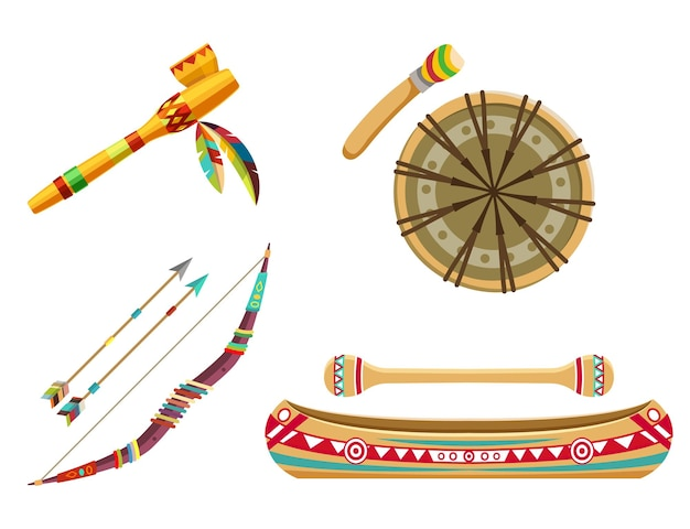 Индийские племенные символы или тематический набор. предметы домашнего обихода или предметы. лук со стрелами, лодка для каноэ, этнический барабан и курительная трубка. плоский дизайн