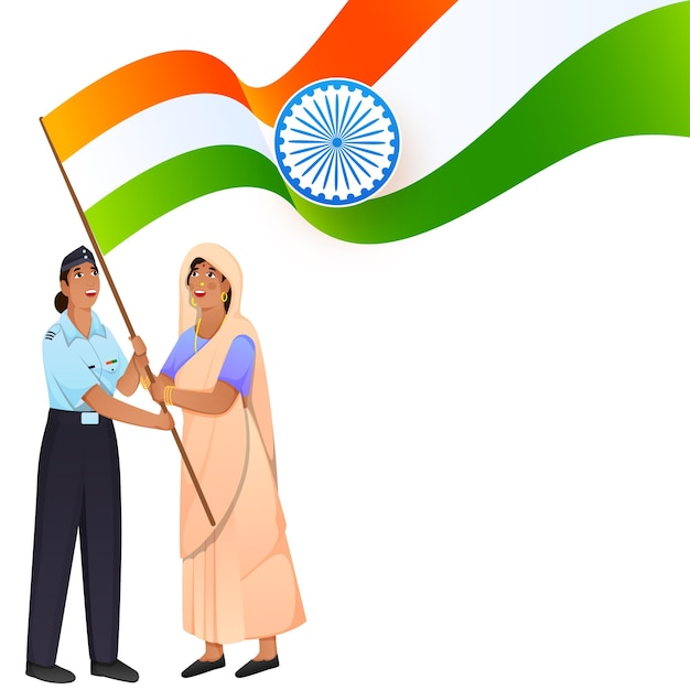 Indian two women holding national flag isolated