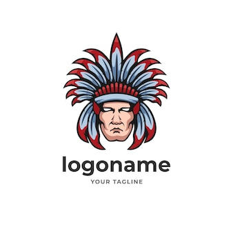 Indian warrior chief apache logo emblem style for e sport gaming technology business company