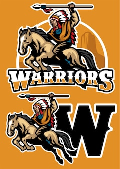 Indian warrior riding horse mascot
