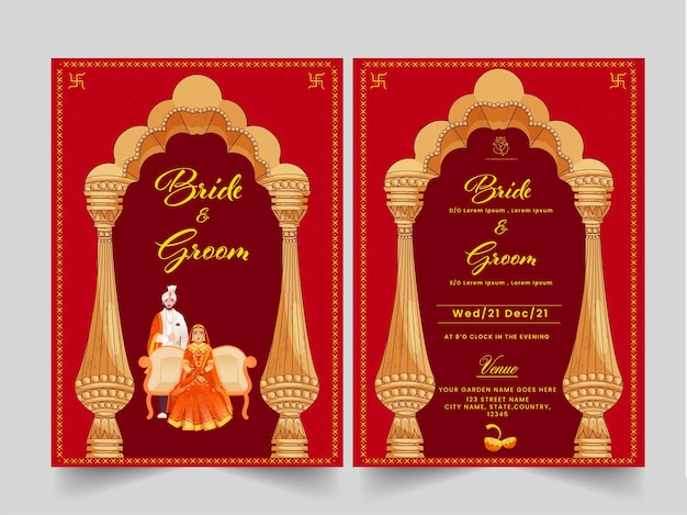 Indian wedding card template layout with hindu bridegroom image and event details.