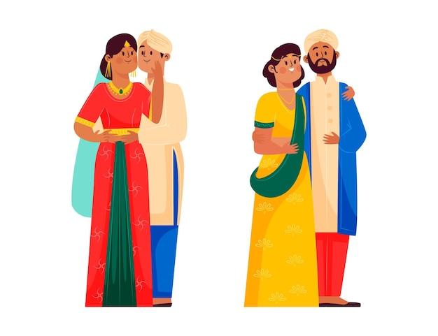 Коллекция индийских свадебных персонажей
