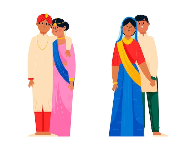 Набор индийских свадебных персонажей