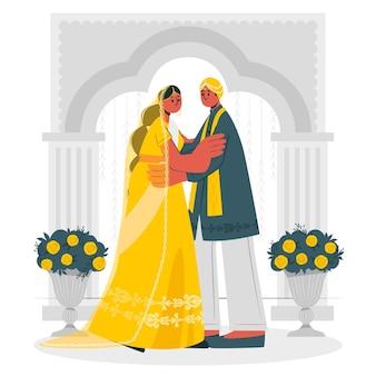 Illustrazione di concetto di matrimonio indiano