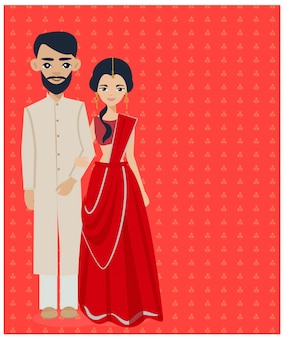 Indian wedding couple in traditional dress.