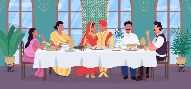 Indian wedding flat color illustration. groom and bride at festive table. traditional banquet. celebrate with relatives. marriage 2d cartoon characters with home interior on background