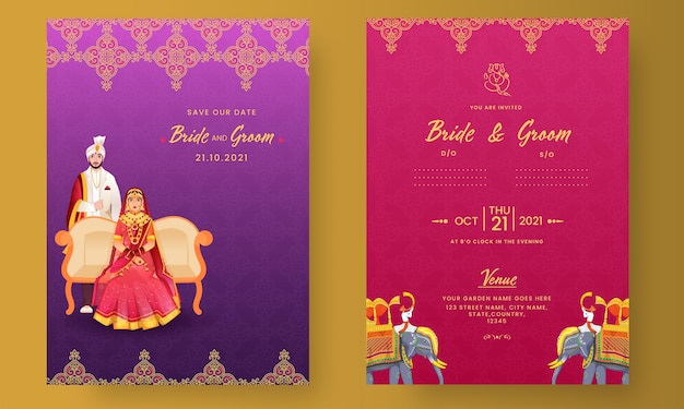 Indian wedding invitation card design with hindu bridegroom illustration in purple and pink color.
