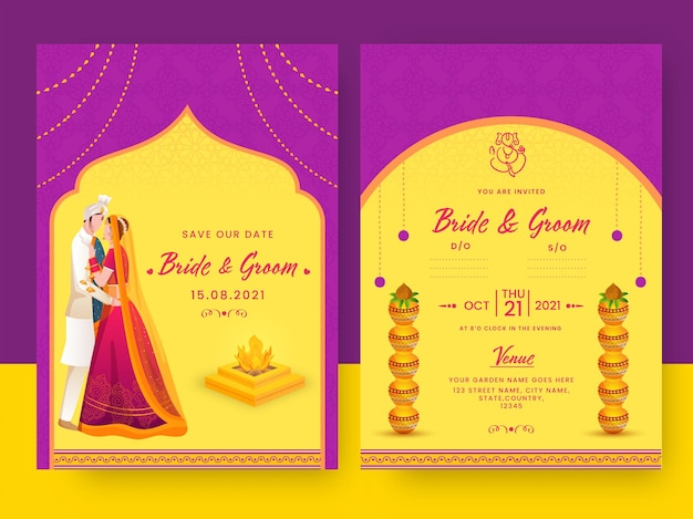 Indian wedding invitation card template layout in magenta and yellow color.