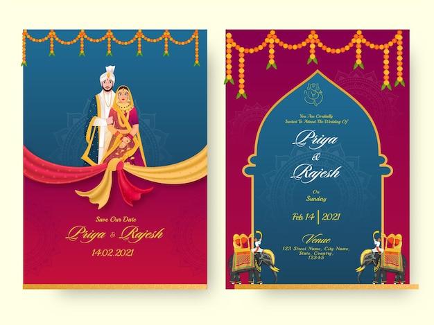 Premium Vector Wedding Card Set With Beautiful Design