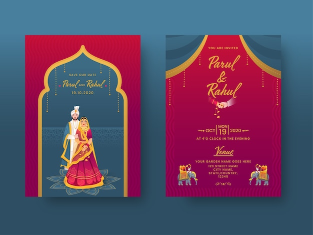 Indian wedding invitation card  with couple character and venue details in front and back view.