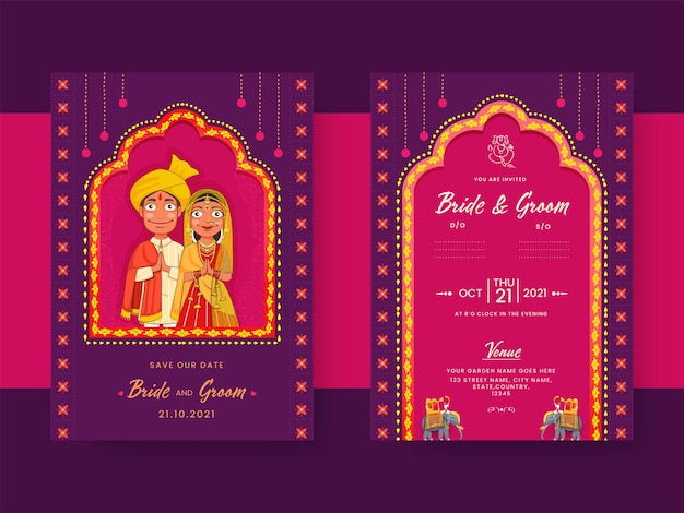 Indian wedding invitation card with hindu bridegroom character in purple and pink color.