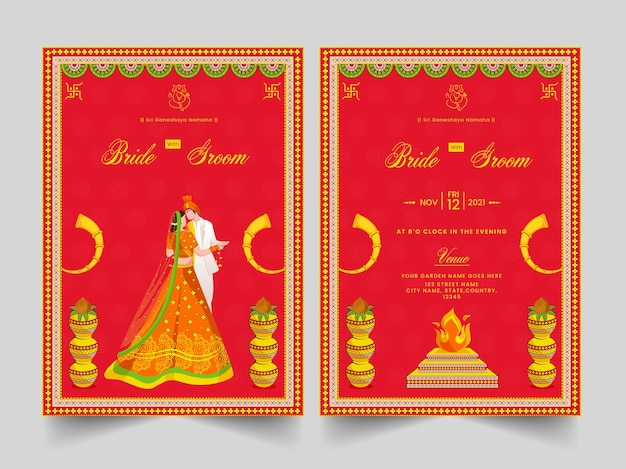 Indian wedding invitation card with hindu newlywed couple and event details in front and back side.