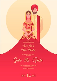 Indian wedding invitation with characters